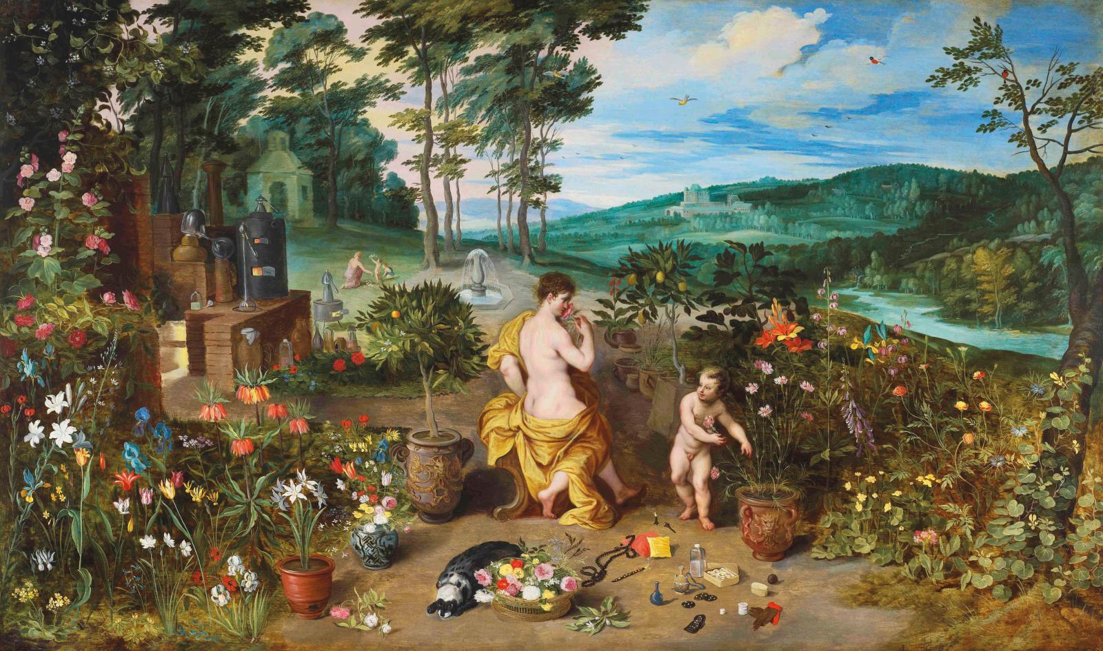 Jan Bruegel le Jeune (1601-1678), Le Printemps ou l'Allégorie de l'odorat, vers 1640, huile sur bois, 53 x 89 cm (détail). Galerie Florence de Voldère
