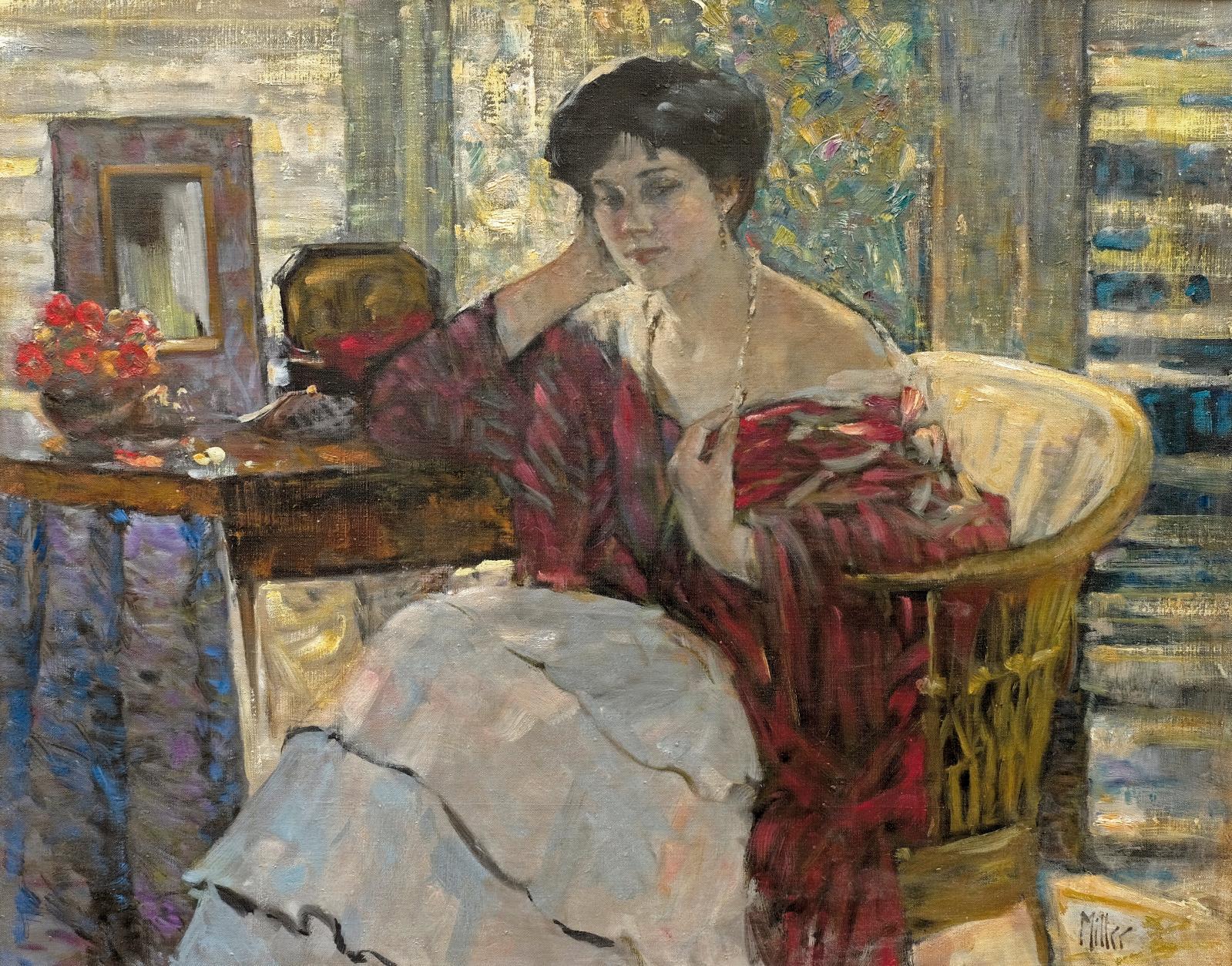 Richard Edward Miller (1875-1943), Jeune femme au collier, huile sur toile, 73x92cm. Adjugé: 126880€