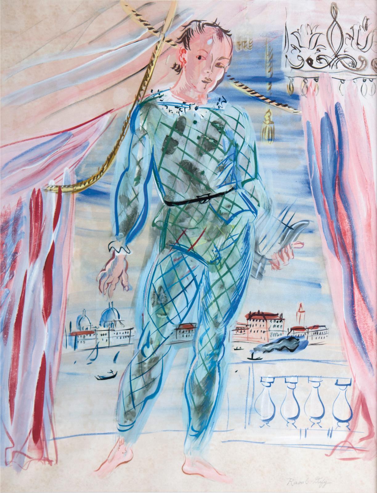 Raoul Dufy (1877-1953) a signé cette gouache et aquarelle nommée Arlequin à la lyre (64x48cm), vers 1942. Elle décrochait ici 50200€, justifiés p