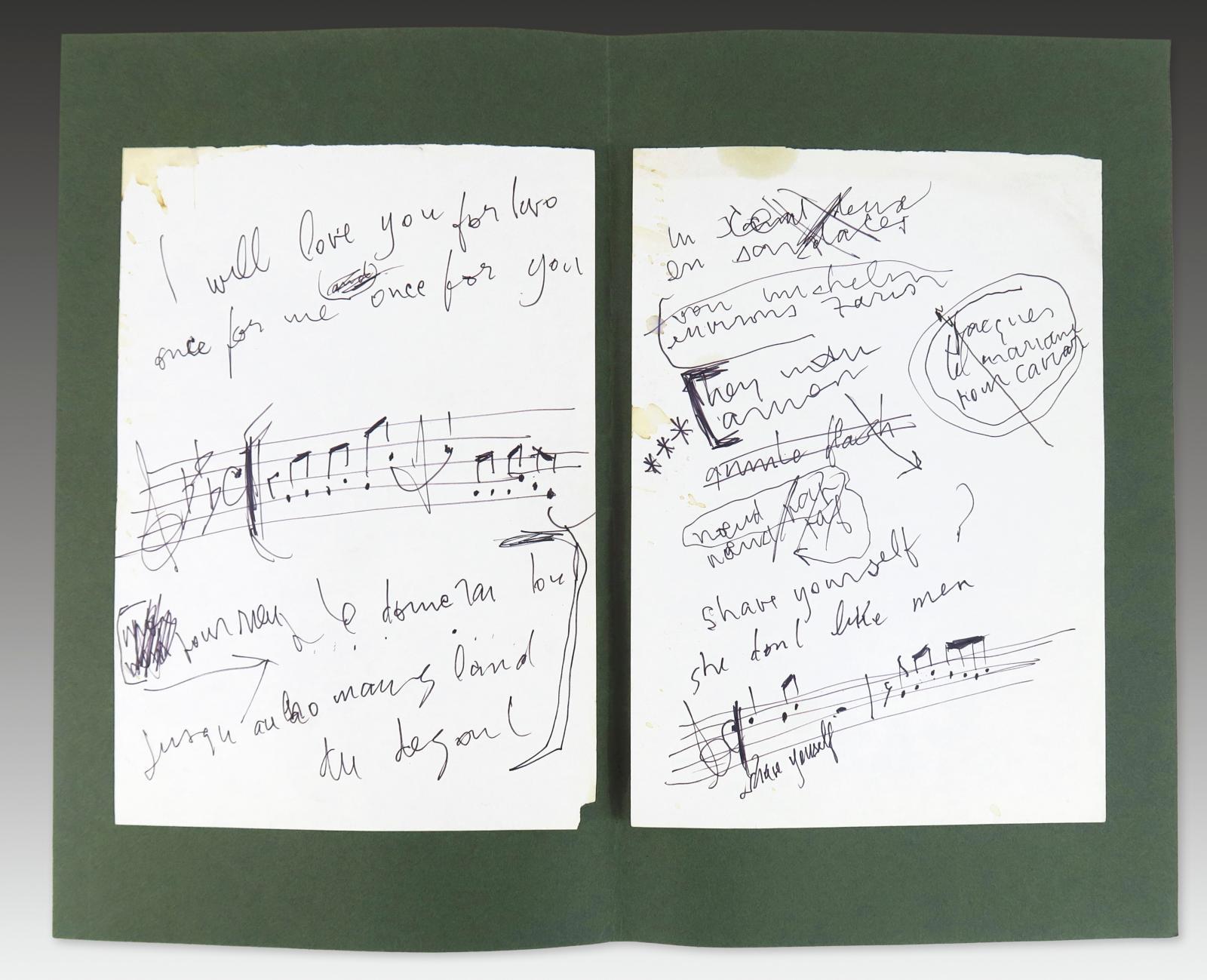 Deux feuillets autographes de Serge Gainsbourg datant de 1988-1989. Adjugé: 4083€