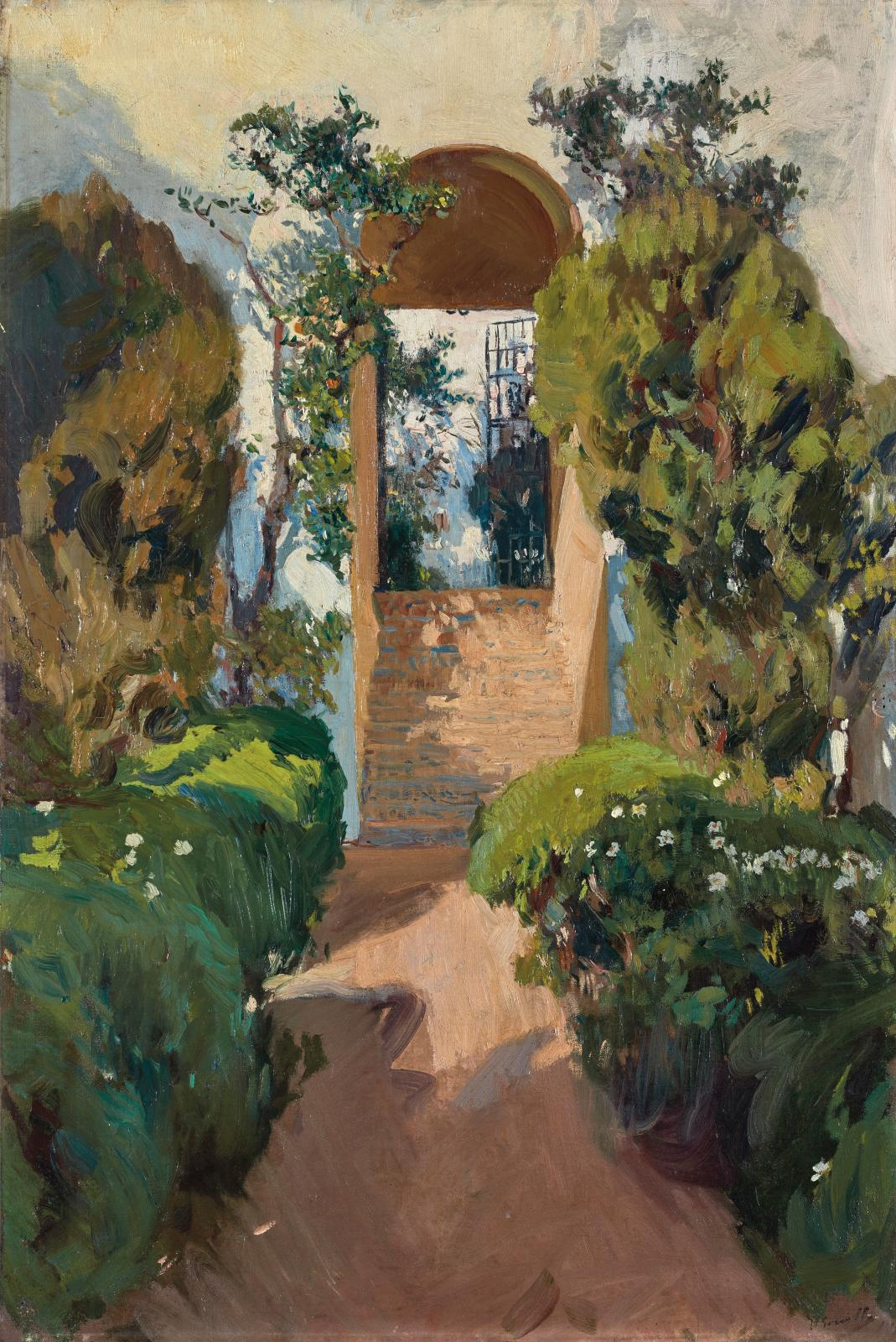 Joaquin Sorolla y Bastida (1863-1923), Escalier vers le jardin supérieur (Stairway to the upper garden), Seville Alcazar, 1910, oil on canvas, 94.5 x
