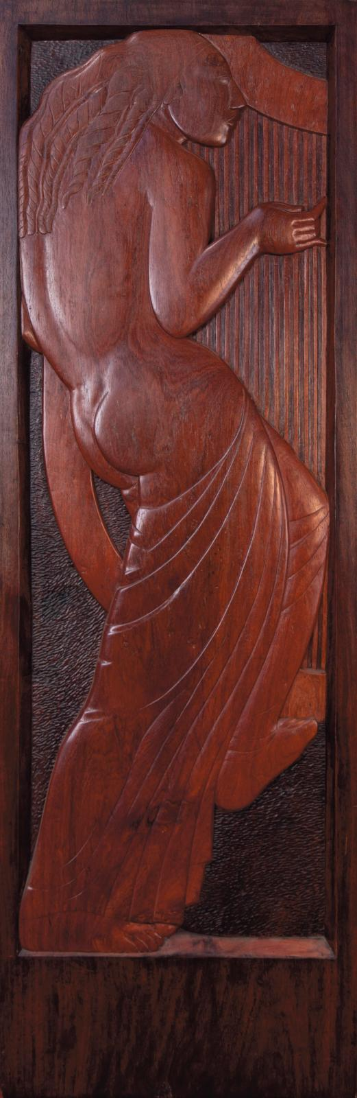 Attributed to Ivan Mestrovic (1883-1962), Woman with a harp, wood panel carved in high relief, 170 x 55 cm.Result: €50,200
