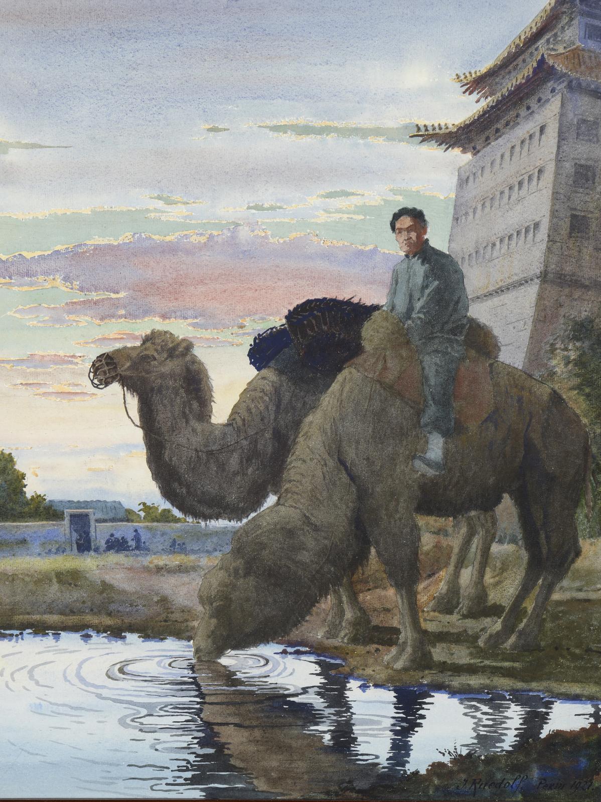 Joseph Ruedolf (XIXesiècle-1957), Chamelier faisant s'abreuver ses chameaux, aquarelle, 53x41,5cm. Estimation: 1300/1500€