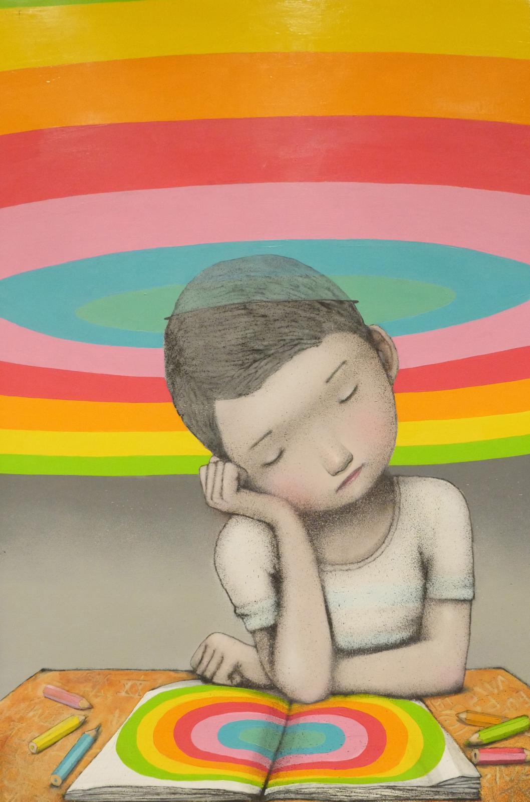 Seth, Sans titre, 2015, 195x130, peinture aérosol et acrylique sur toile.