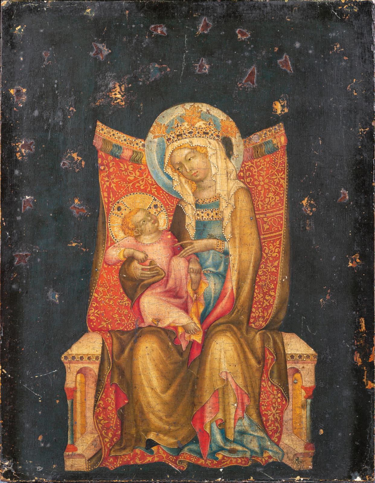Maître de Vissy Brod, La Vierge et l'Enfant en trône, peinture à l'œuf sur panneau de bois fruitier, 22x 20 cm. Estimation: 400 000/600