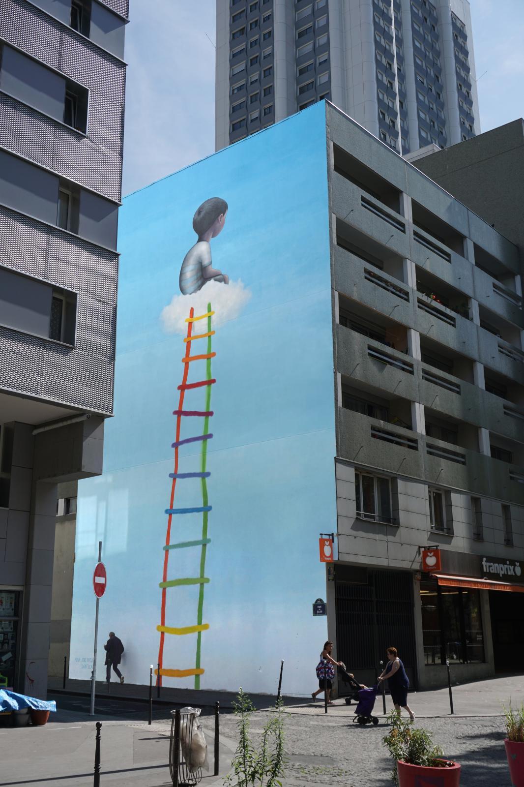 Seth, L'Échelle, rue Saint-Blaise à Paris, dans le 20e arrondissement.