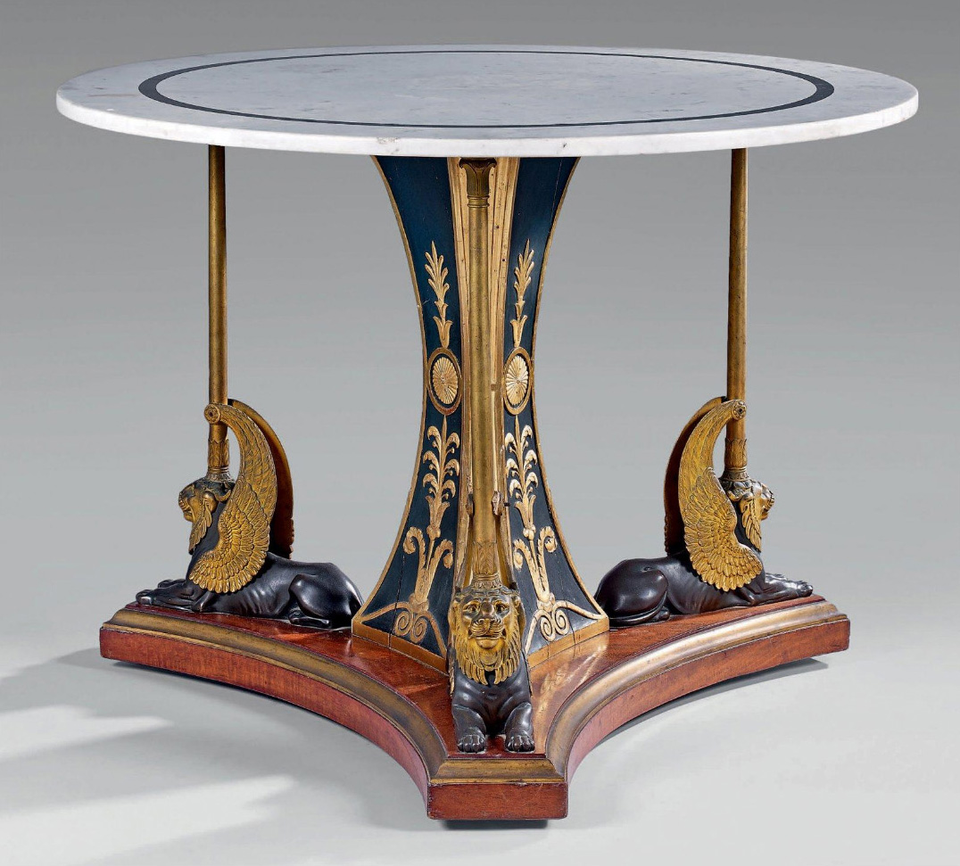 €73,750F.-H.-G. Jacob-Desmalter, tripod pedestal table with white marble top standing on a triangular central shaft in wood and gilt stucc
