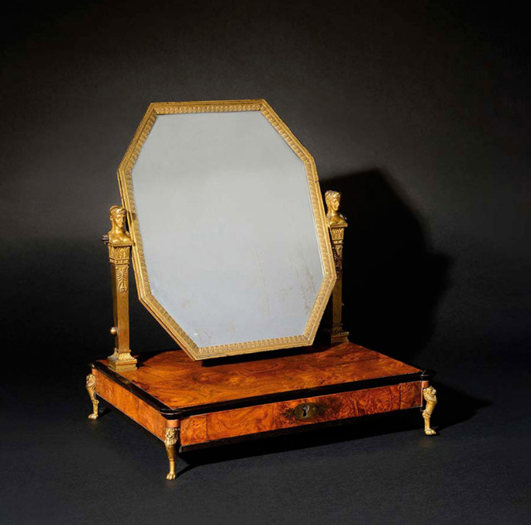 €125,000M.-G. Biennais, silversmith to the Emperor, octagonal cheval glass with two quiver-shaped uprights, unit in ash burr veneering wit