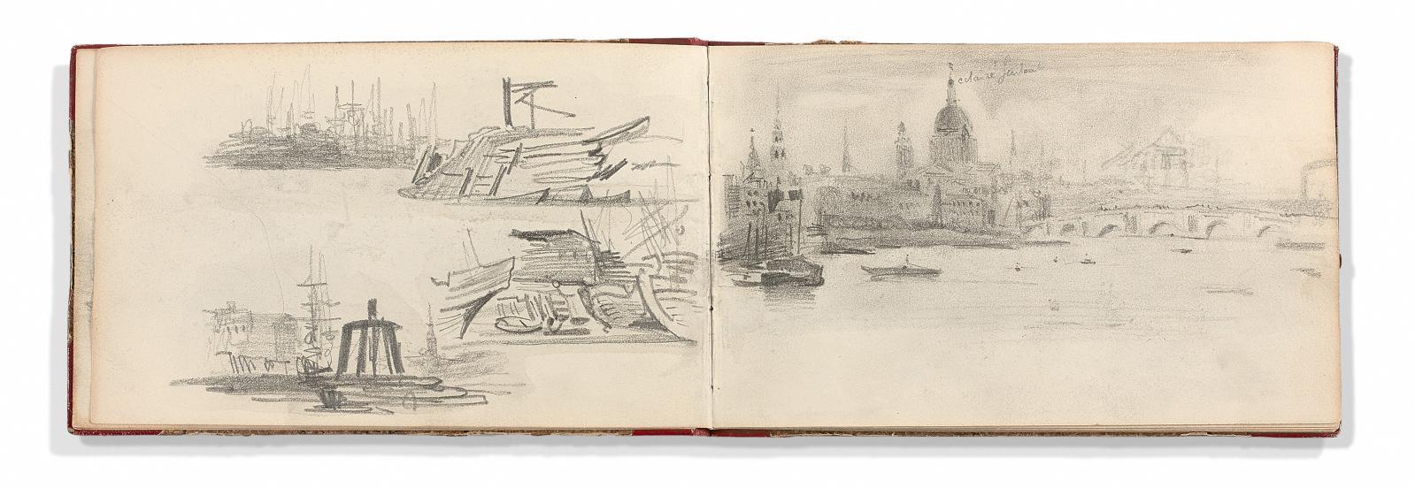Eugène Delacroix(1798-1863), Album d'Angleterre: vues de Londres, de la Tamise, de Greenwich, études d'après les frises du Parthénon, ét