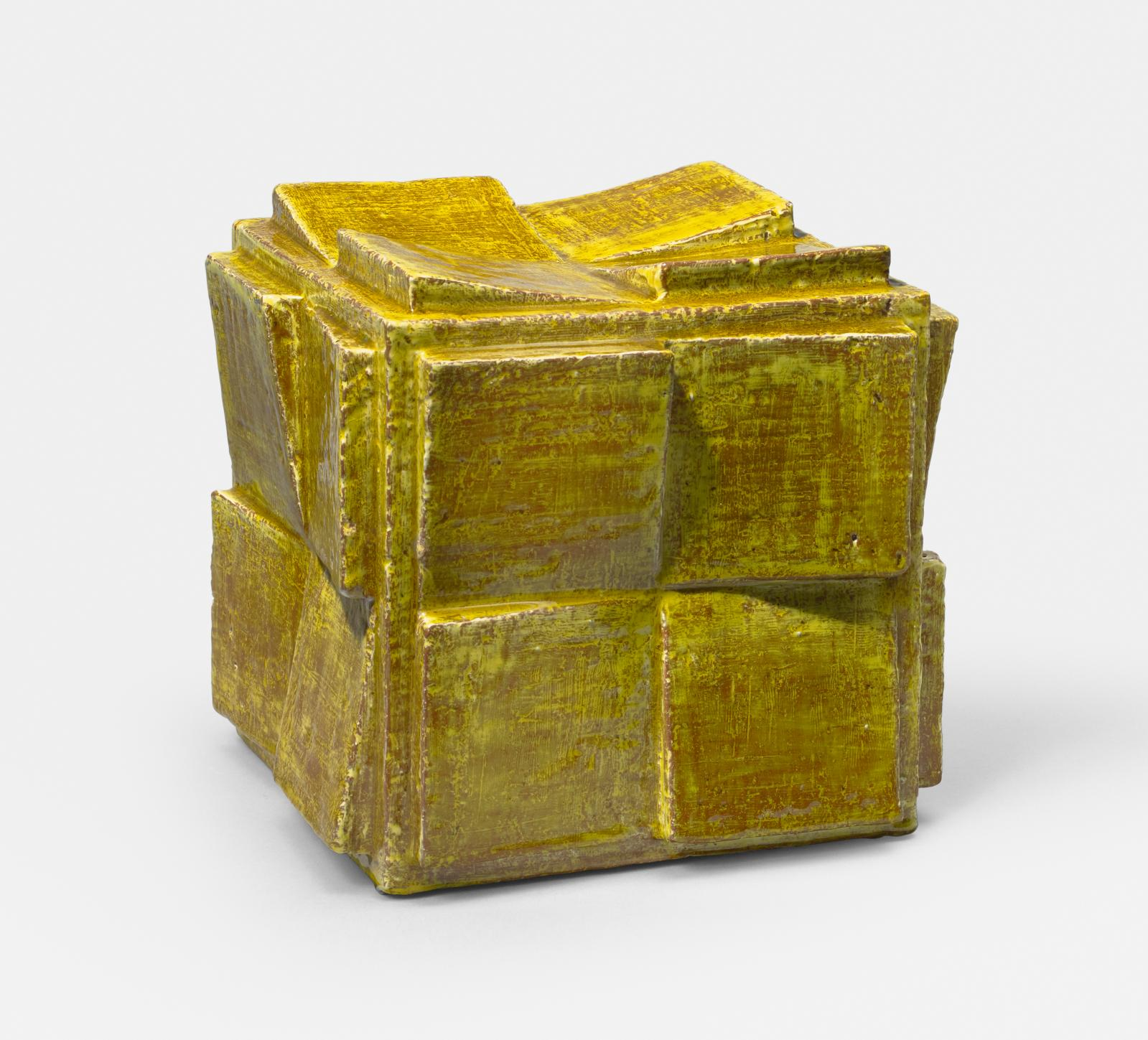 Suzanne Ramié (1907-1974), Madoura studio, Vallauris, yellow-glazed ceramic cube, 1970, 22.5 x 24 cm. Thomas Fritsch - Artrium.Courtesy of