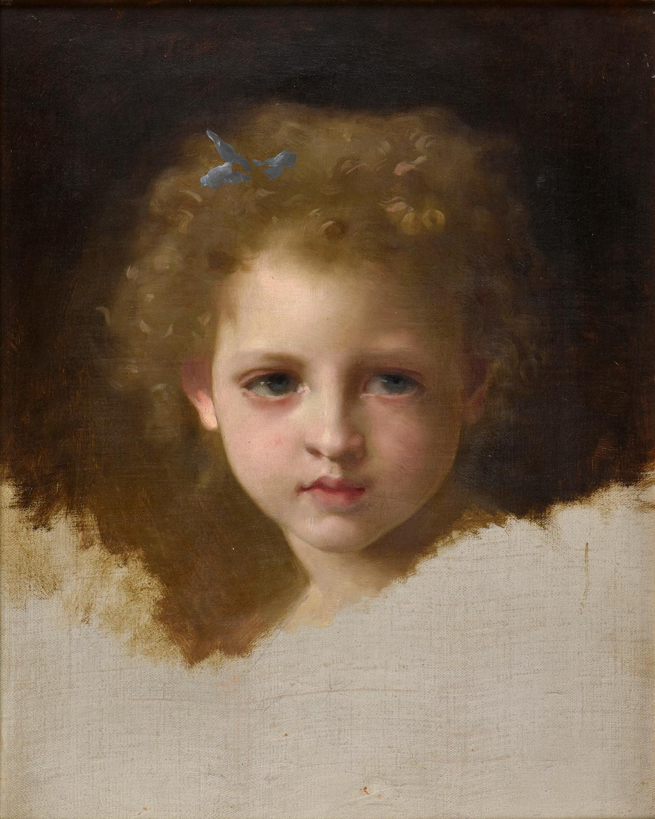 Portrait de fillette au ruban bleu,huile sur toile, 41x33cm. Estimation: 10000/15000€