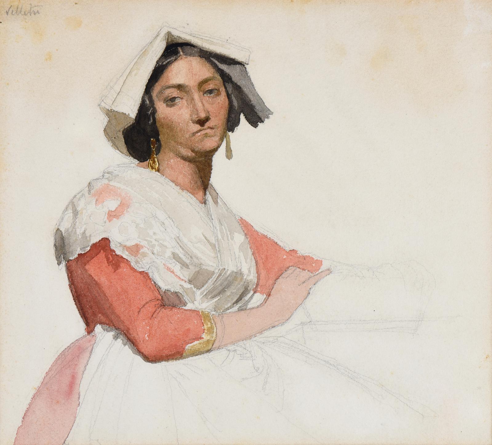 Portait d'une Italienne en costume régional, 1857, aquarelle et graphite sur papier, 20,7 x 23 cm. Estimation: 6000/8000€