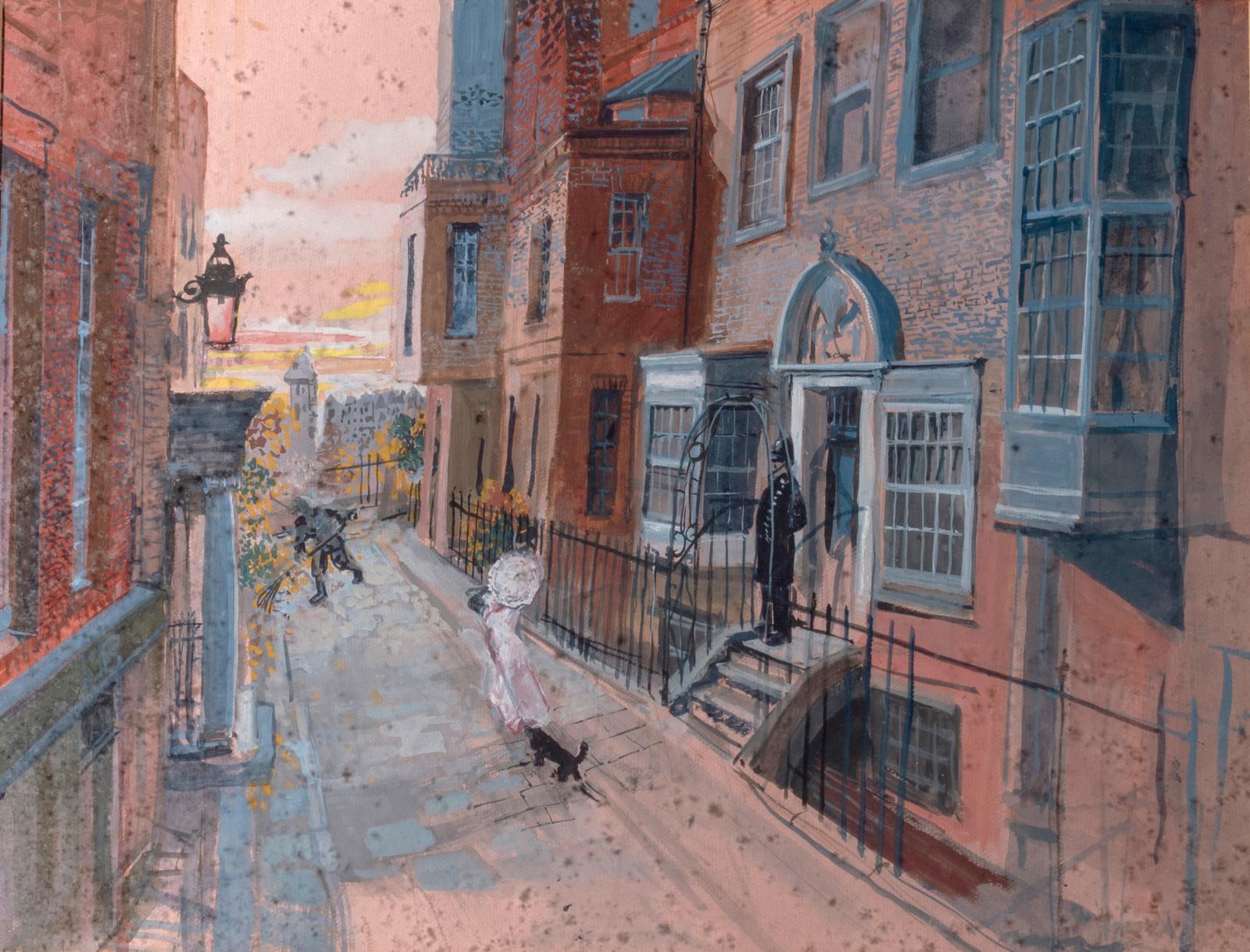 Alexandre Trauner, La rue des Molyneux, à Londres, maquette de décor pour «Drôle de Drame», de Marcel Carné, 1937, aquarelle et gouache su