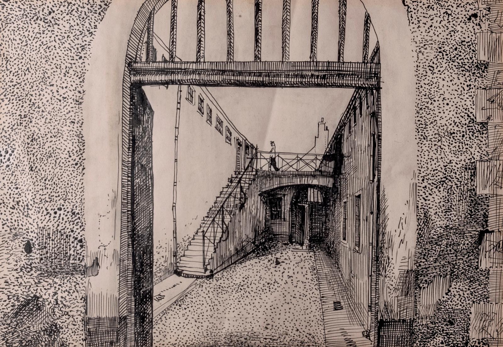 Alexandre Trauner, Le Pénitencier, décor pour «La Fleur de l'âge», encre sur papier, 24,5x36cm (détail). Estimation: 200/300€