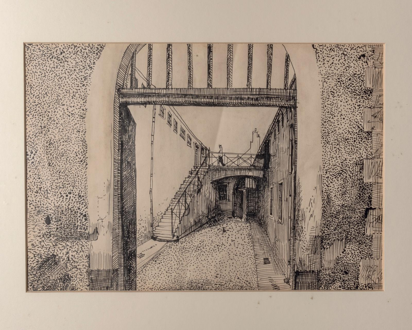 "Alexandre Trauner, The Prison, set for ""The Prime of Life"", ink on paper, 24.5 x 36 cm (detail).Estimate: €200/300"