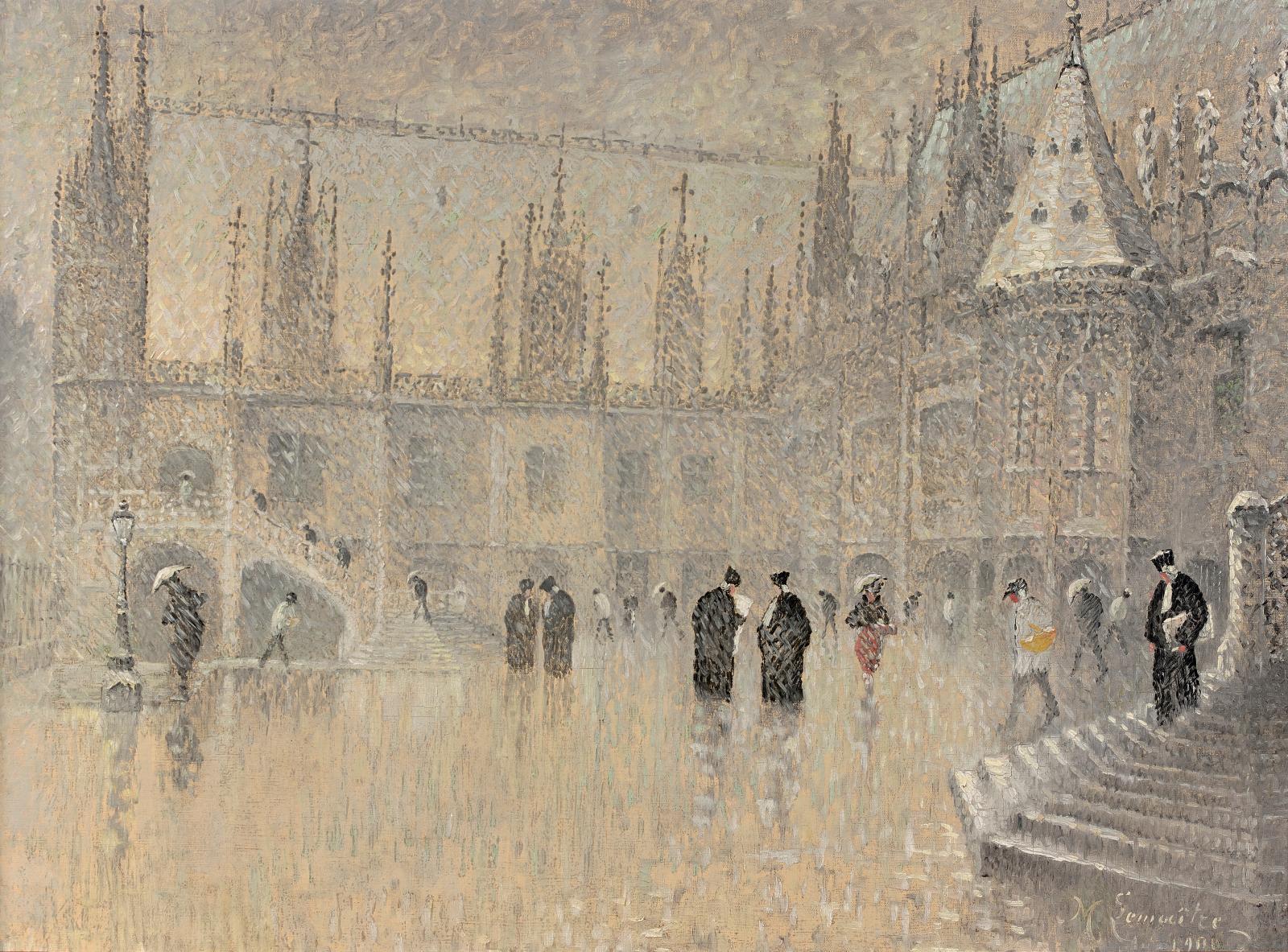 Léon Jules Lemaitre (1850-1905), Neige sur le palais de justice à Rouen, 1900,huile sur toile, 54x73cm (détail). Estimation: 6000/10