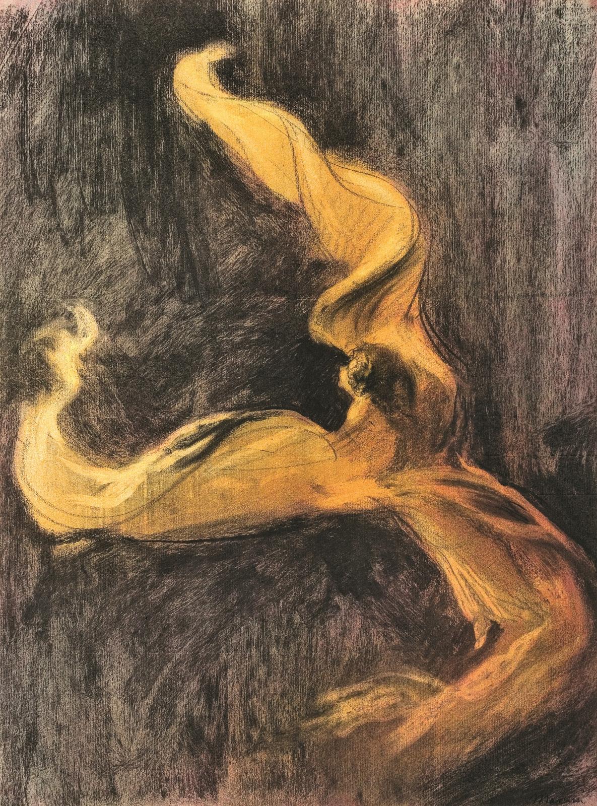 Charles Maurin (1856-1914), Loïe Fuller (robe jaune), vers 1895, pastel et fusain sur papier, 61 x 45cm.