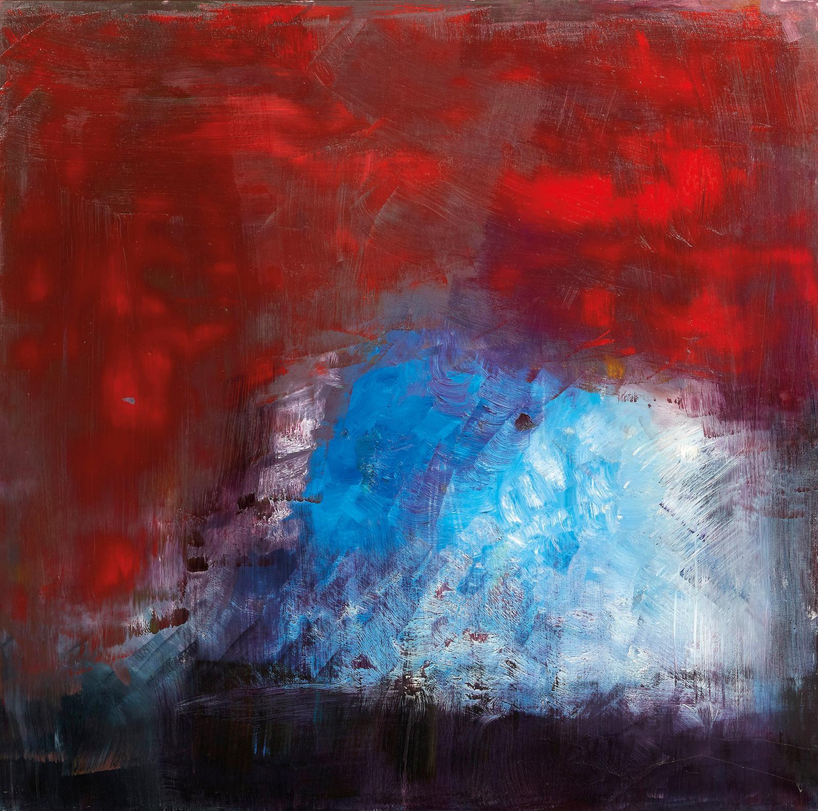 Roger Taillibert (né en 1928), Composition bleue et rouge, huile sur toile, 150 x150 cm (détail). Estimation: 5000/8000€