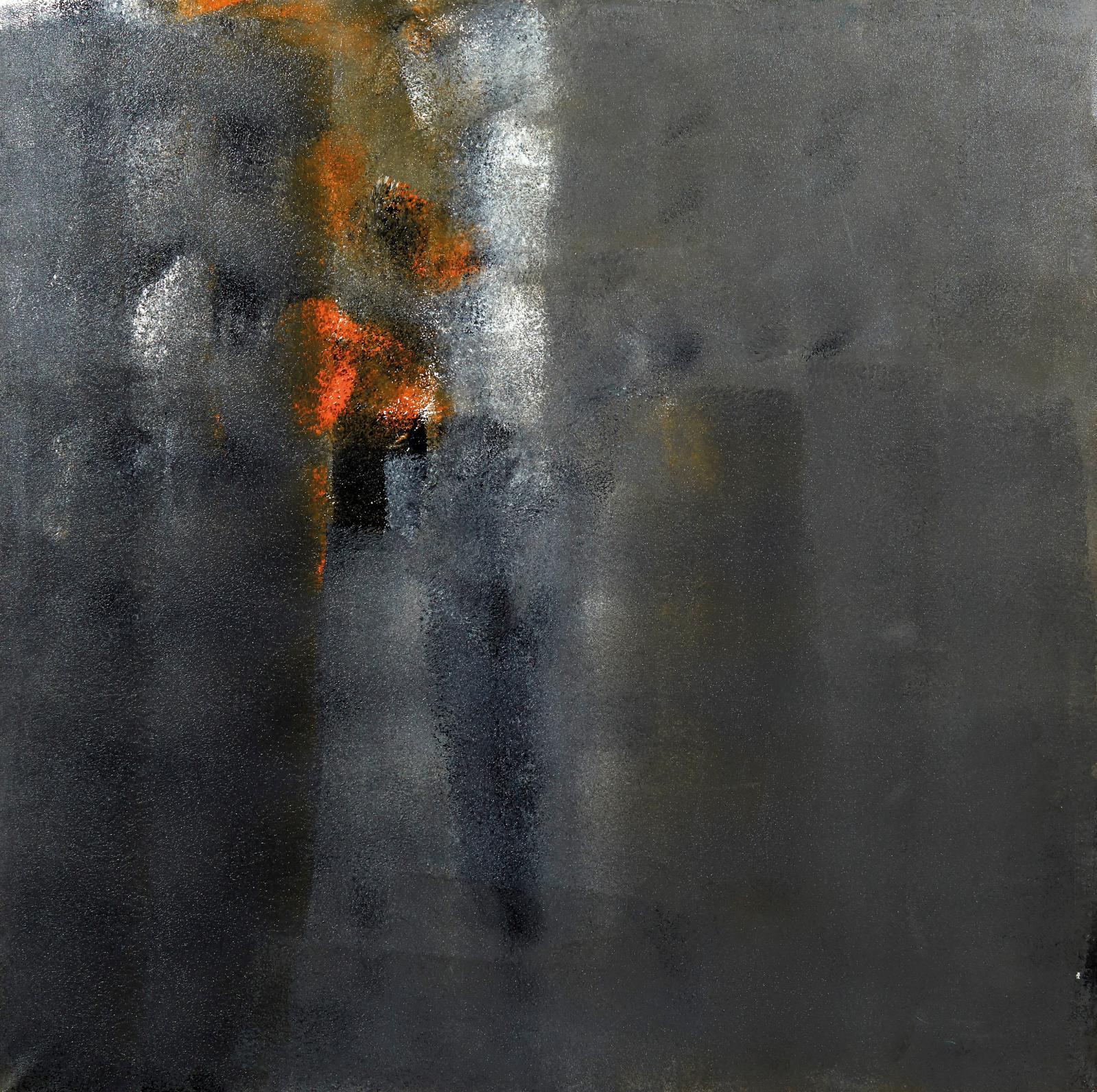 Roger Taillibert, Composition grise et orange, huile sur toile, 150x150cm. Estimation: 5000/8000€