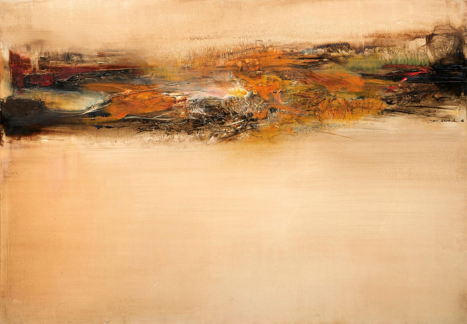 Zao-Wou-ki (1920-2013), 30.10.64- 11.04.78, huile sur toile, 114x162cm. Estimation: 700000/800000€