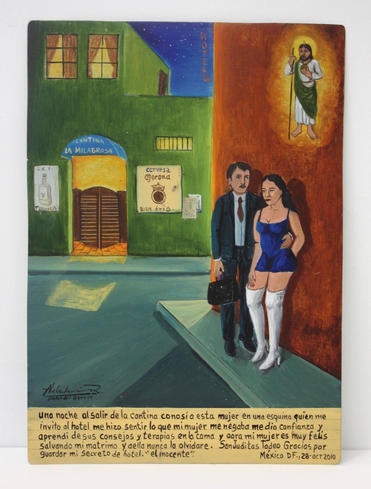 Alfredo Vilchis-Roque (né en 1959), L'Innocent, ex-voto contemporain mexicain, huile sur métal, 25x35cm. Galerie Frédéric Moisan, Paris