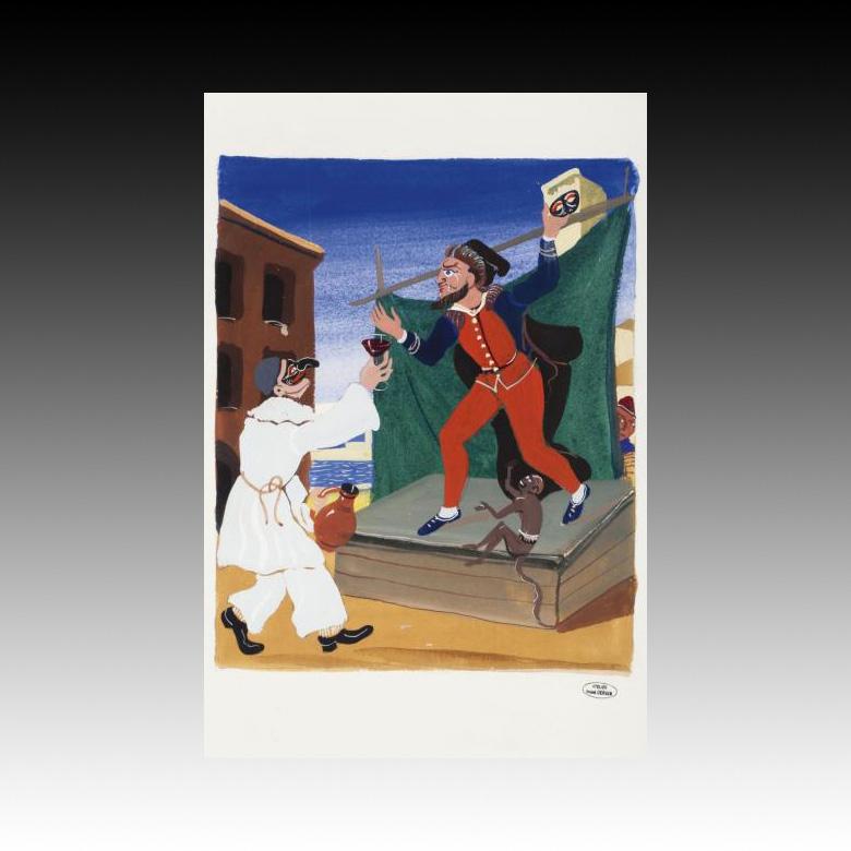 188€ André Derain (1880-1954), Scène de la commedia dell'arte, pochoir, cachet «Atelier Derain» en bas à droite, 31x27cm. Drouot, 6dé