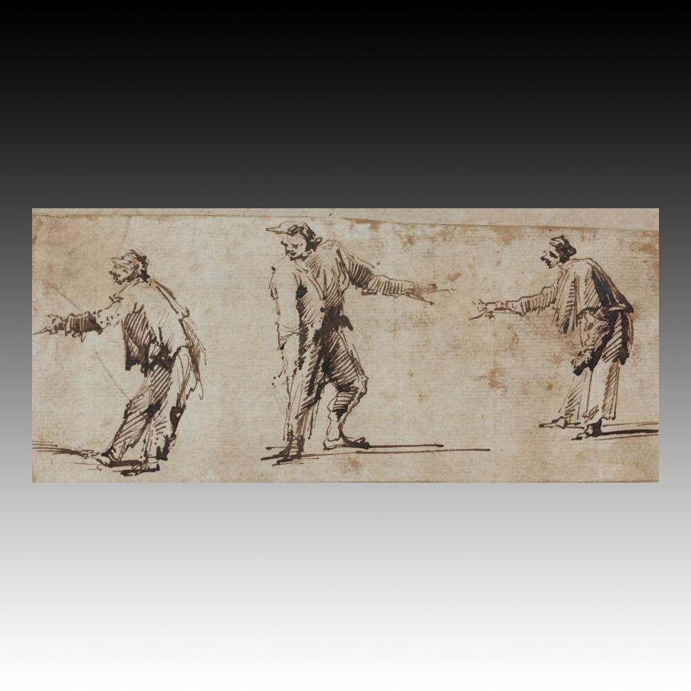 7615€ Giovanni Battista Piranese (1720-1778), Trois études de personnages de la commedia dell'arte, plume et encre brune, 7,5x16,4cm.