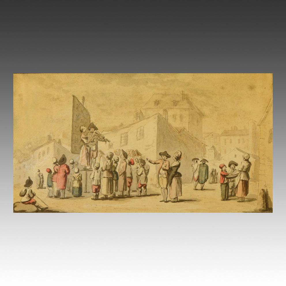 819€ Étienne Béricourt (XVIIIesiècle), ensemble de quatre aquarelles sur le thème de la commedia dell'arte, XVIIIesiècle, 16x33cm. D