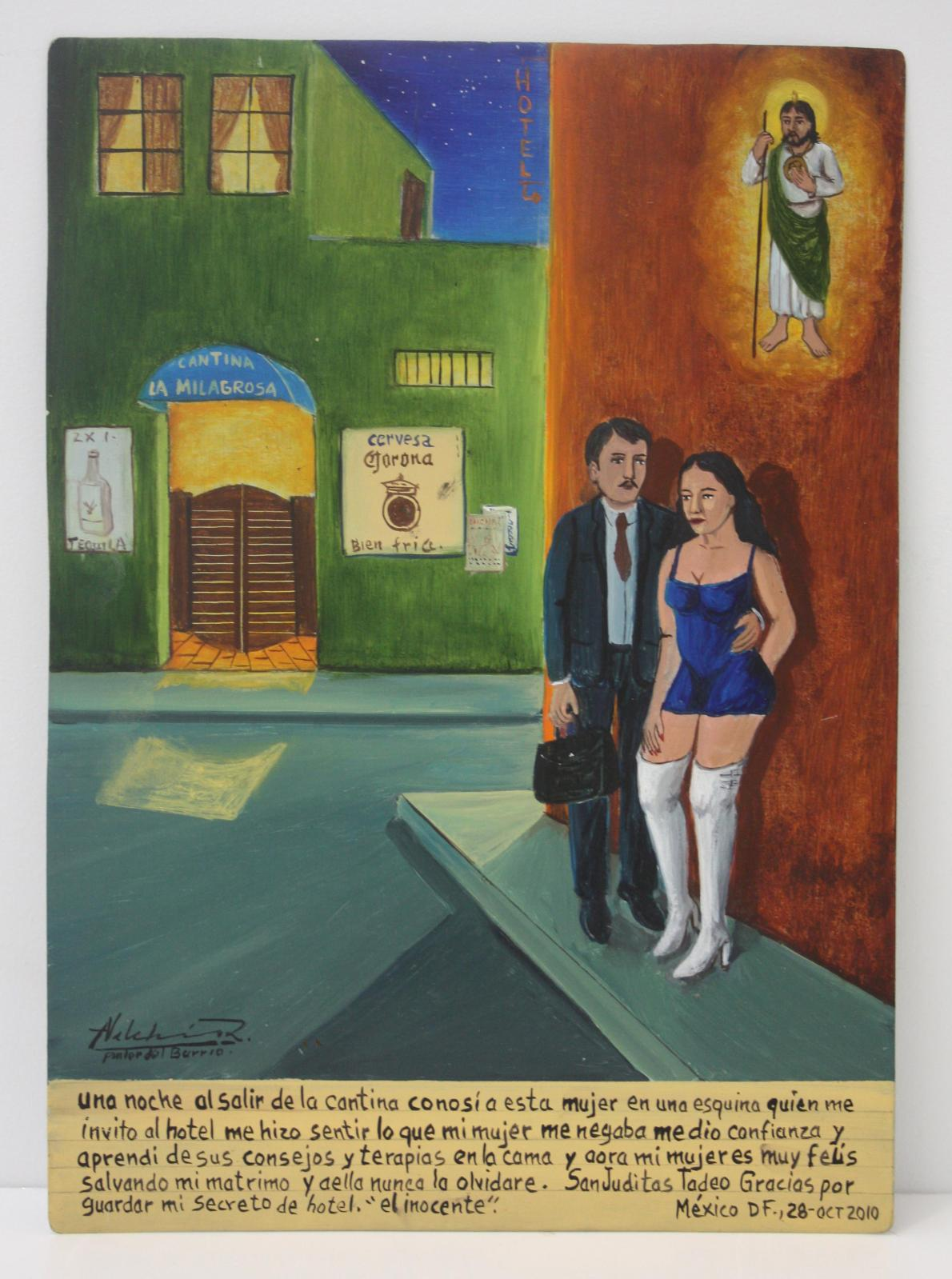 Alfredo Vilchis-Roque (b. 1959), L'Innocent, ex-voto contemporain mexicain, oil on metal, 25 x 35 cm. Galerie Frédéric Moisan, Paris.Photo