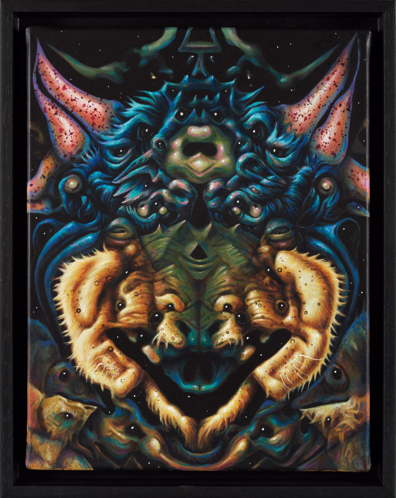 Philippe Mayaux (1961), Butterfly Divinity, 2018-2019, techniques mixtes sur toile, 39,5 x 31,5cm.