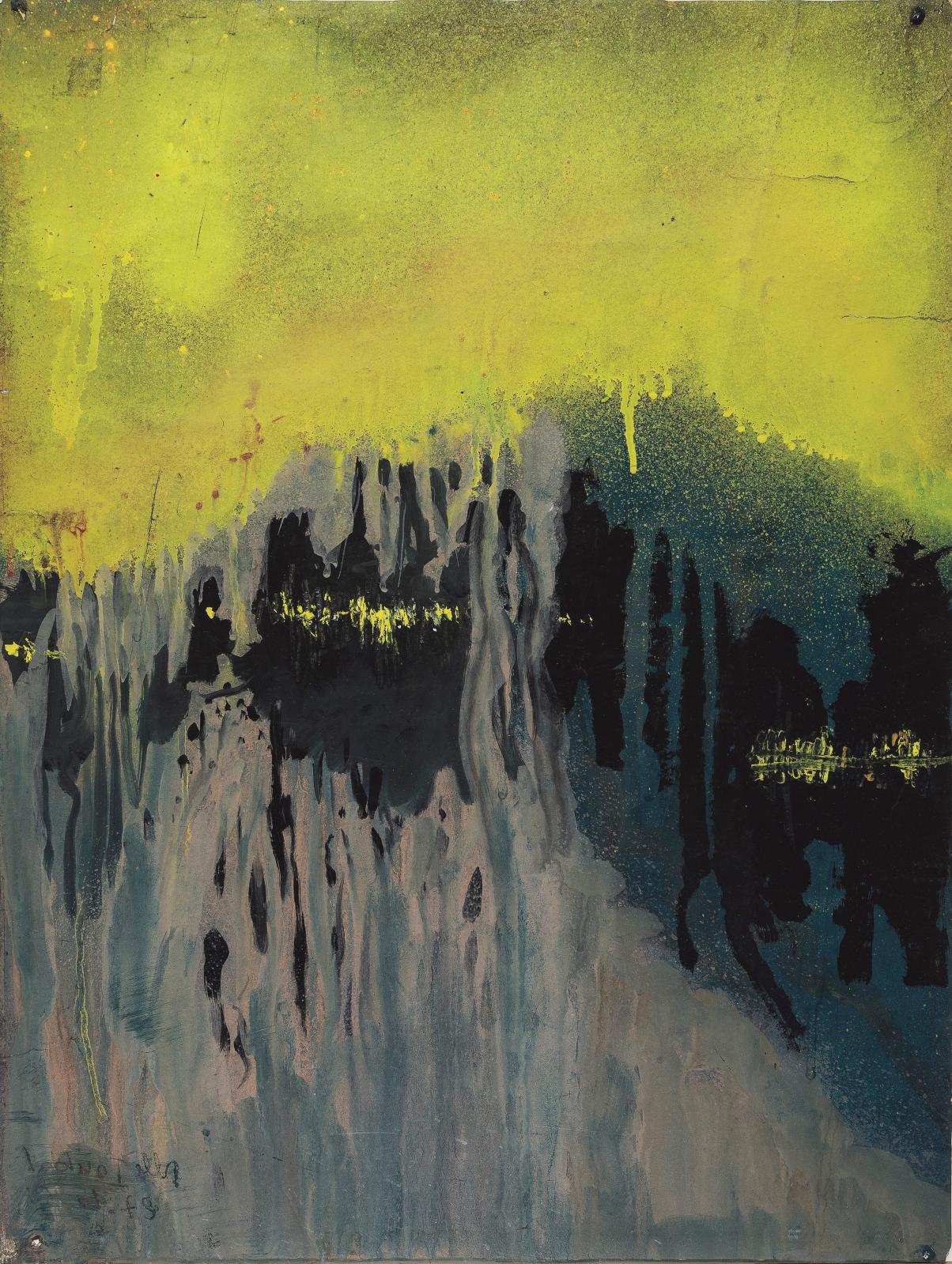 Toubal, Sans titre, 27octobre 1967, gouache sur papier, 66,3x49,5cm, Centre d'Étude de l'Expression-MAHHSA, Musée d'Art et d'Histoire
