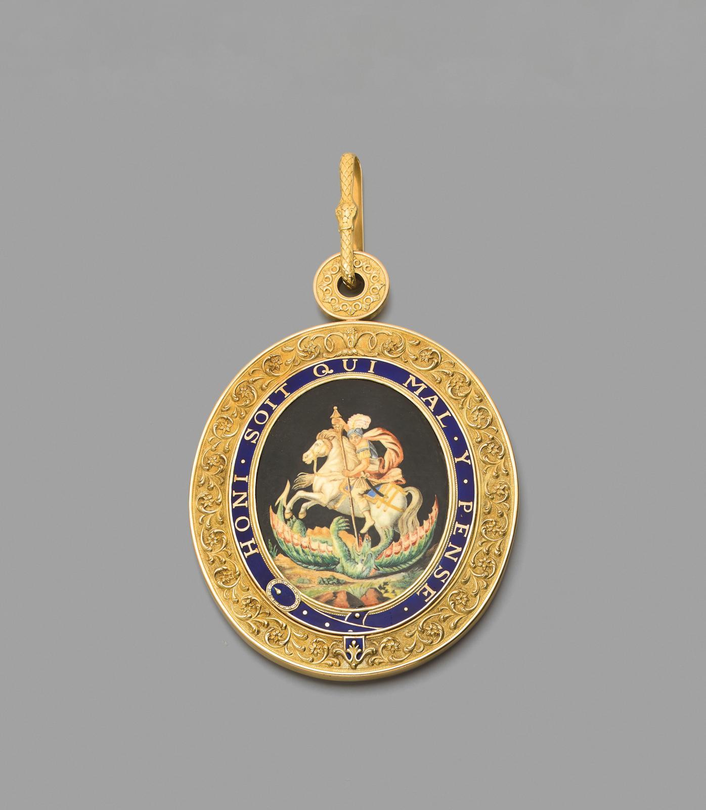 Royaume de Prusse et royaume d'Angleterre, ordre de l'Aigle noir, ordre de la Jarretière, médaillon en vermeil à décor de rinceaux feuilla