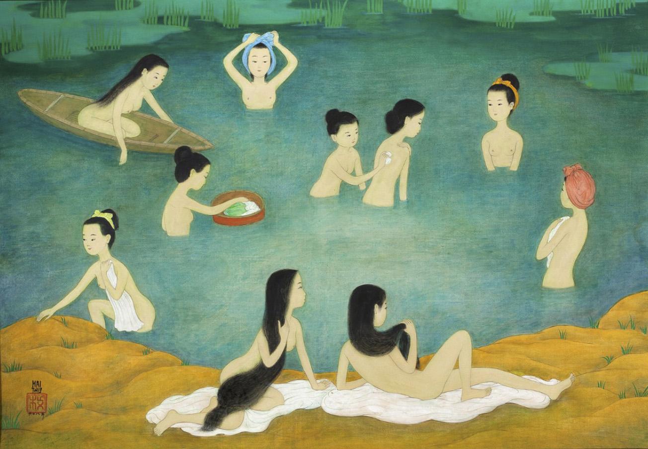C'est avec délice que cette composition de Mai-Thu (1906-1980), dépeignant des Femmes au bain(64,5x94,5cm) à l'encre et aux couleurs