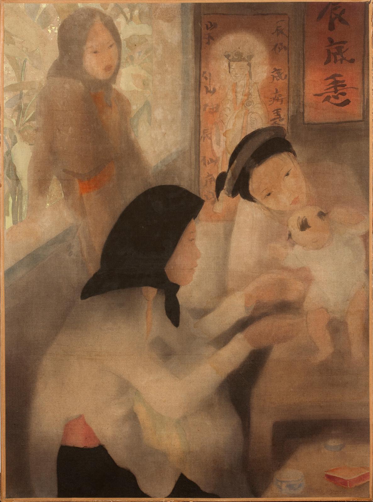 Assez atypique dans l'art d'Alix Aymé(1894-1989), cette œuvre délicate (51x38cm) retenait 50700€. Son sujet des plus séduisants, Les