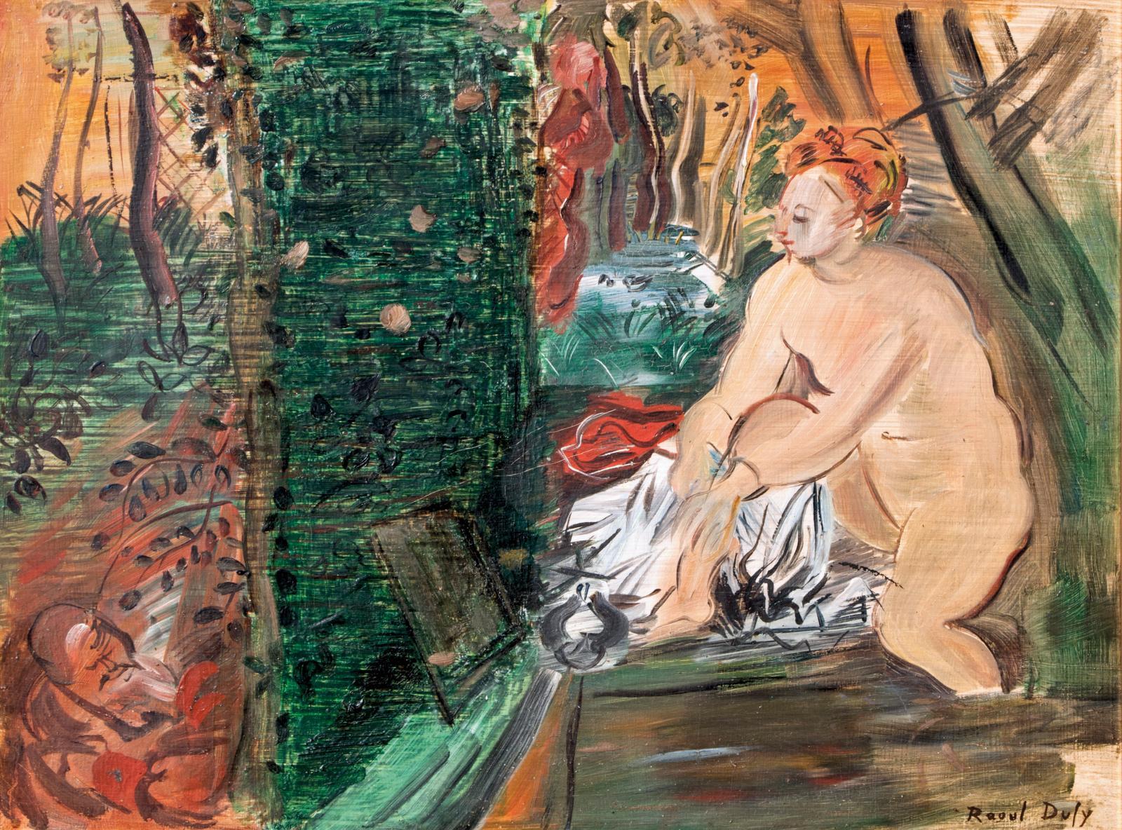 Raoul Dufy (1877-1953), Suzanne et les Vieillards, 1947, huile sur Isorel, 41x51cm. Adjugé: 34300€