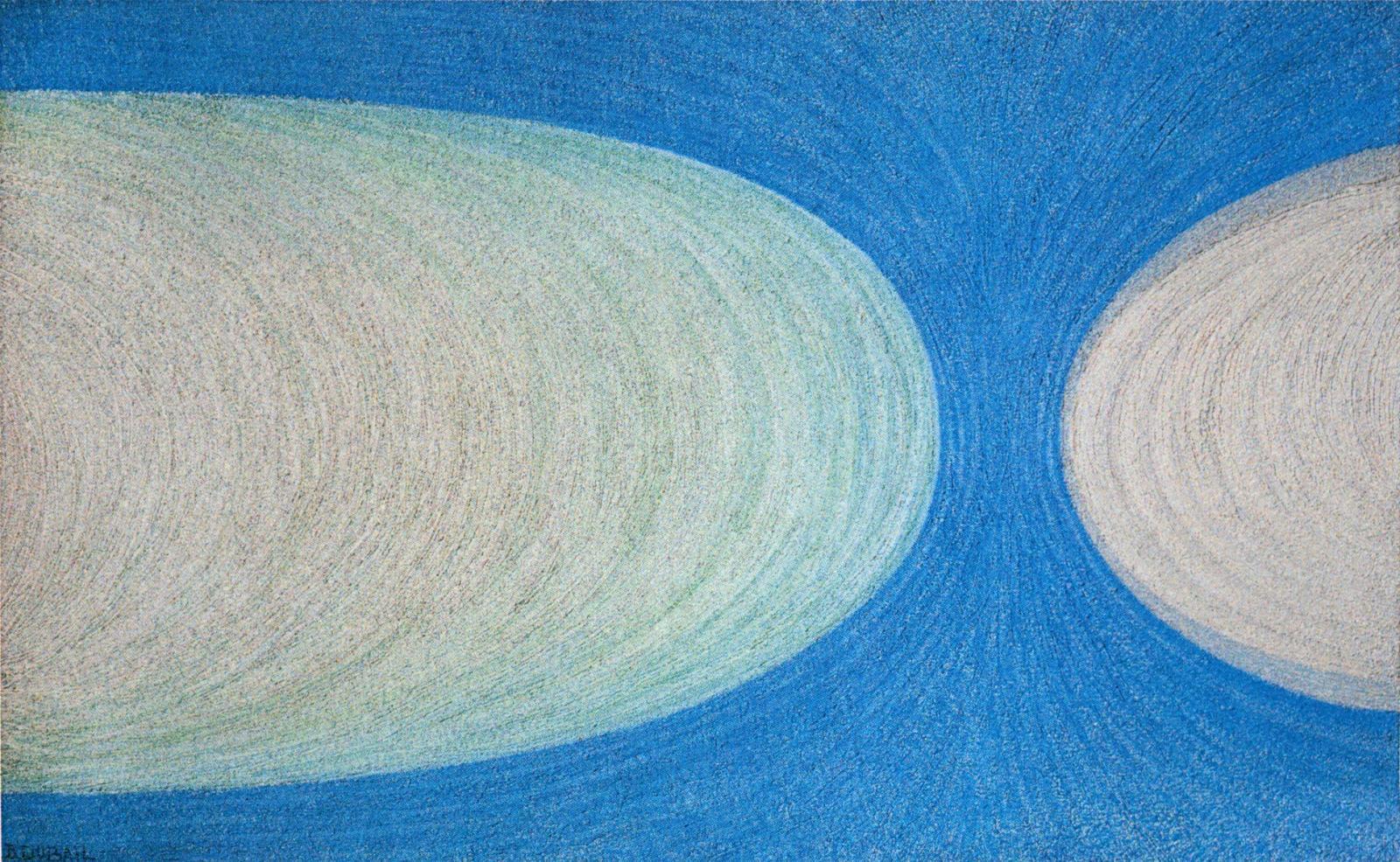 Berthe Dubail (1911-1984), Vaisseaux cosmiques, 1967, huile et sable sur toile, 73x116cm (détail).