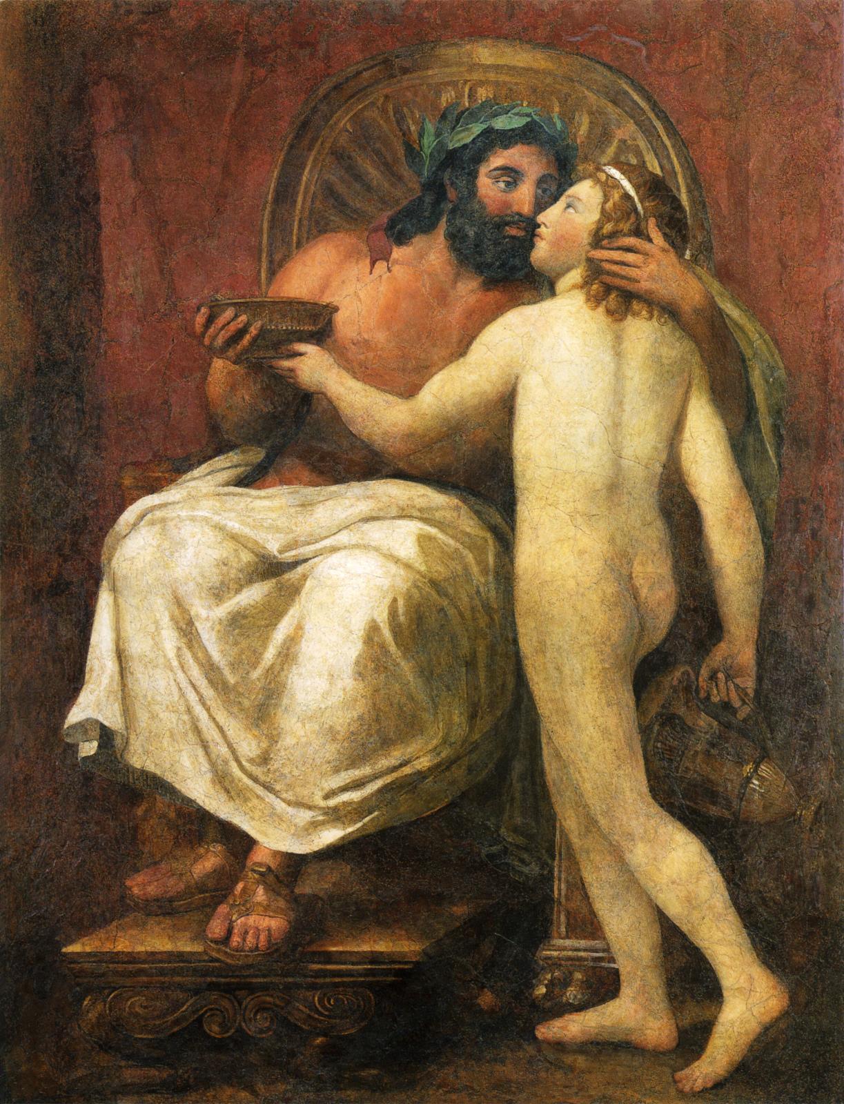 Attribué à Raphaël Mengs, Jupiter et Ganymède, 1758-1759, fresque, Rome, Galleria Nazionaled'Arte Antica.