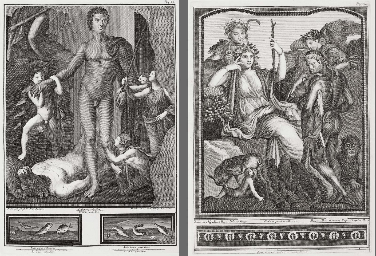 Thésée, vainqueur du Minotaure et Hercule et son fils Télèphe, in Le Pitture antiche d'Ercolano, Naples, 1757.