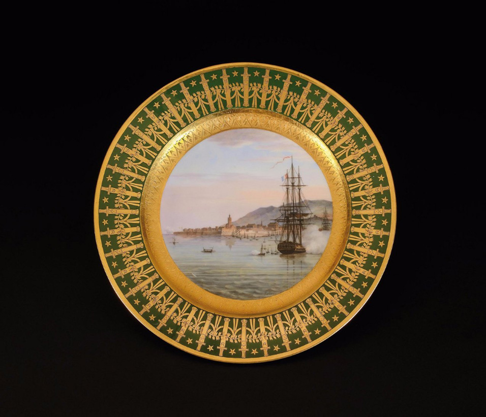 """€306,250Sèvres Imperial Manufactury, dessert plate from the """"General headquarters"""" personal dinner service taken by the Emperor to St Hele"""