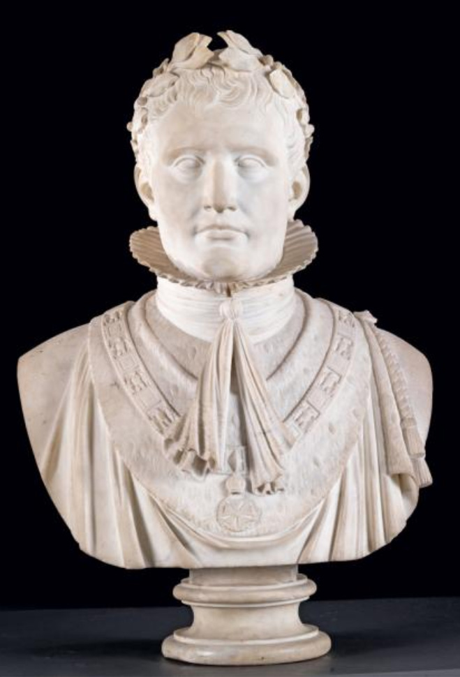 €135,000Bust of Napoleon I in ceremonial coronation dress wearing the laurel crown (from the collections of Joseph Bonaparte), white marbl
