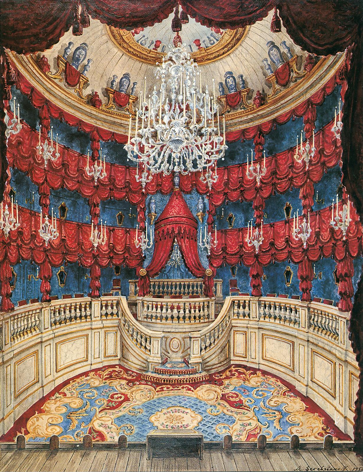 Le fameux théâtre de Groussay, inauguré en 1957, et l'association du rouge et du bleu, typique du goût Beistegui.