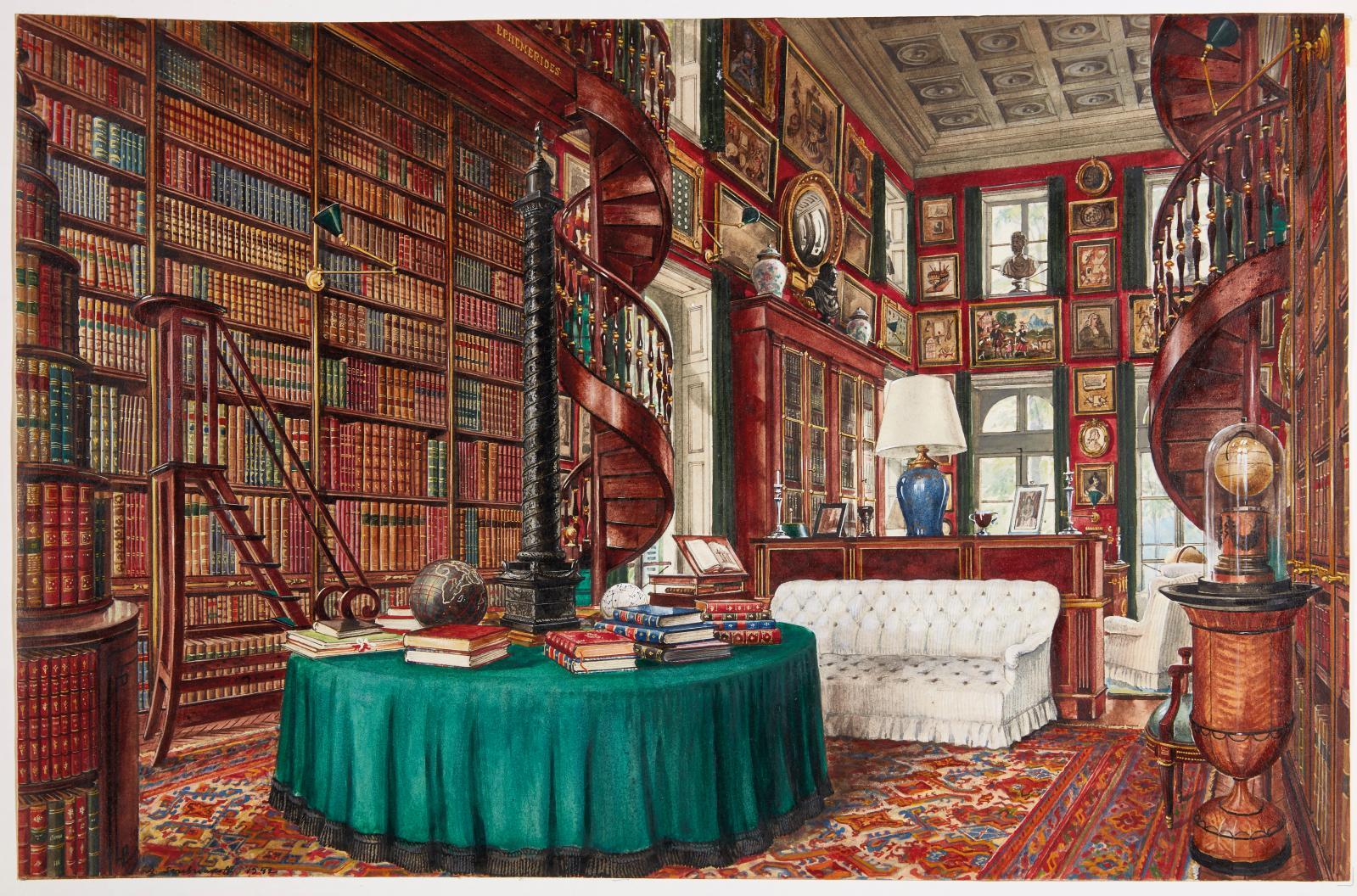 La non moins célèbre bibliothèque, créée de toutes pièces par le maître des lieux.