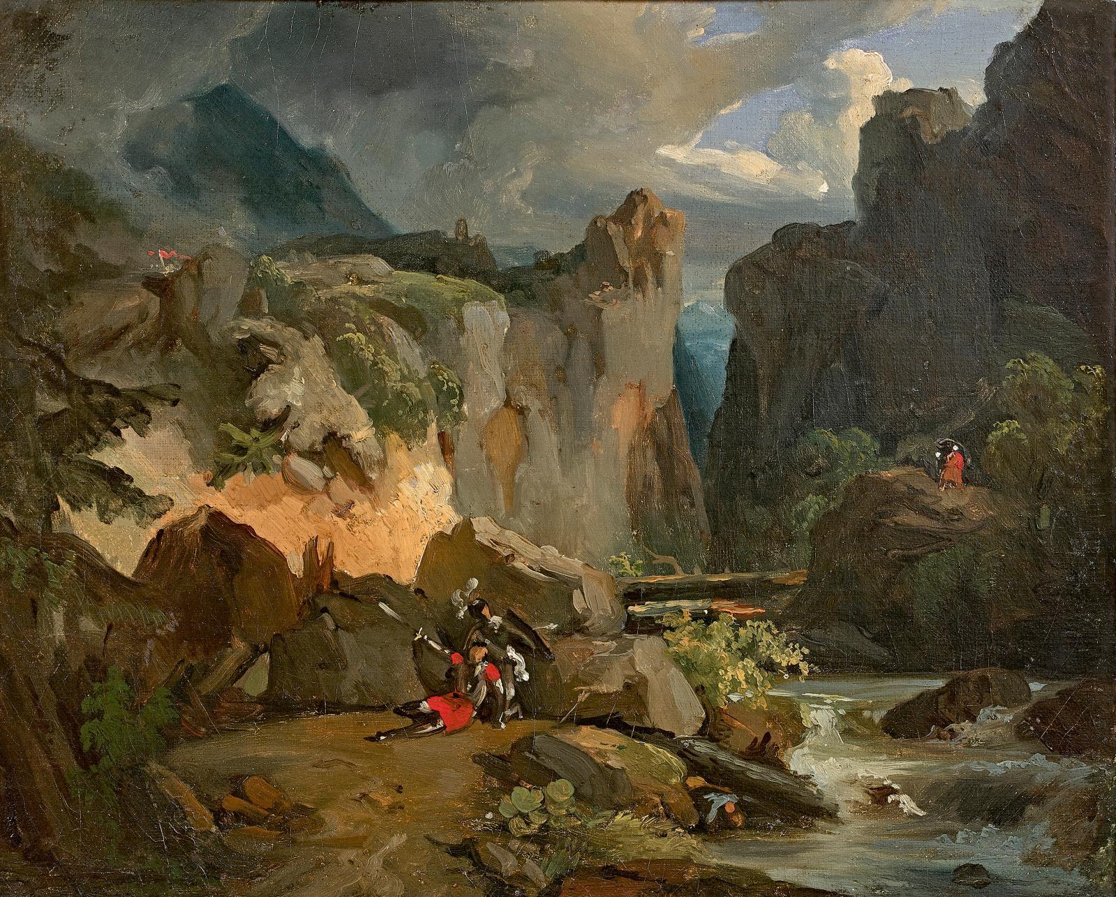 Achille-Etna Michallon(1795-1822), La Mort de Roland, huile sur toile, 32x40,6cm. Adjugé: 25400€