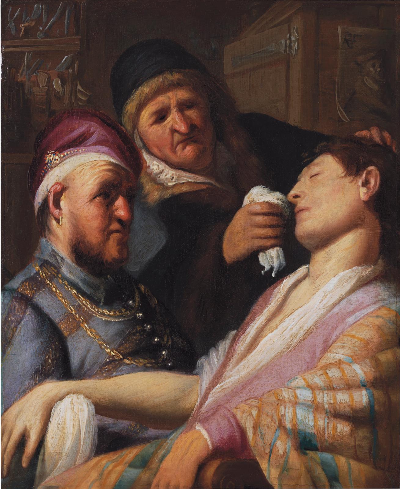 Rembrandt (1606-1669), L'Odorat ou Le Patient inconscient, vers 1624-1625, huile sur panneau. 21,6x17,8cm (détail). Collection Leiden,