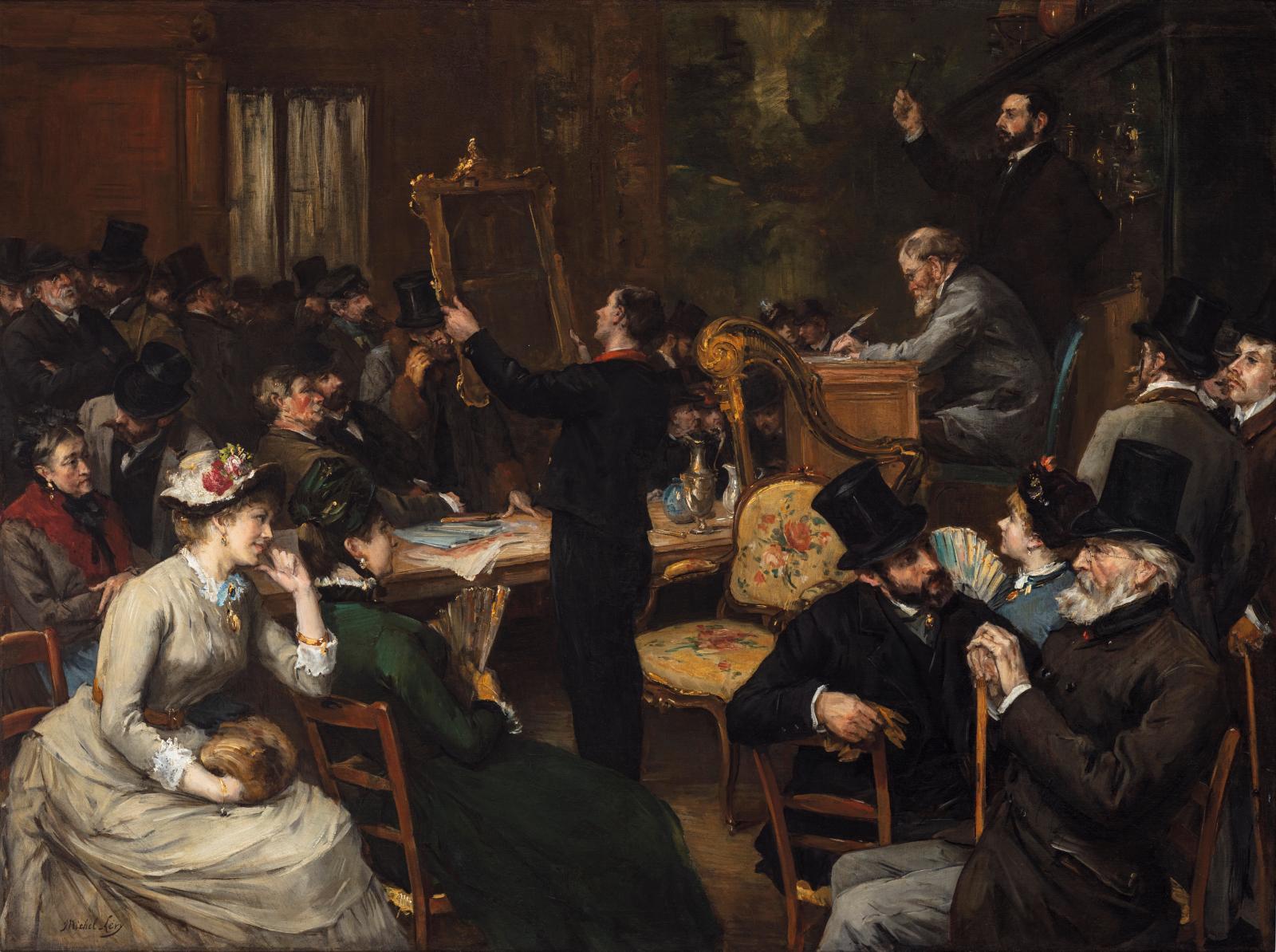 Henri Michel-Lévy (1844-1914), La Vente publique, huile sur toile, 99x131,4cm. Tableau présenté au salon Fine Arts Paris 2019.