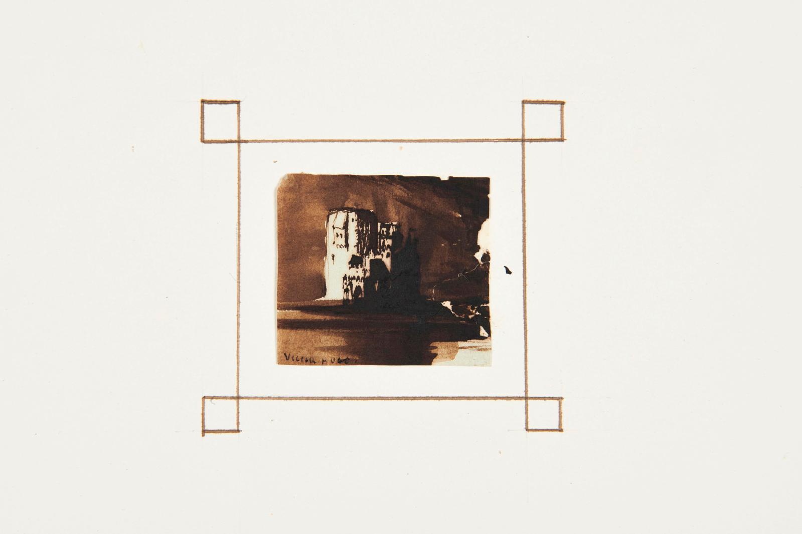 Album Amicorum d'Elisa Denain (in-folio), comprenant 51dessins, dont 8par Victor Hugo(1802-1885), lavis brun, dim.de l'album 35x47c