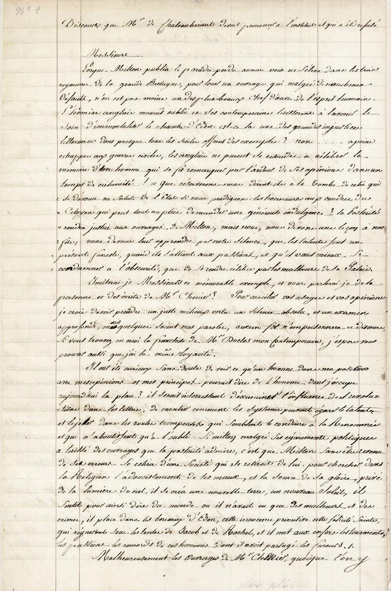 François-René, vicomte de Chateaubriand (1768-1848), manuscrit (copie d'époque), Discours que Mr de Chateaubriant devoit prononcer à l'Ins