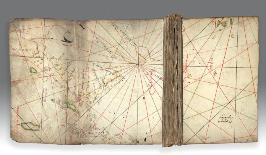 20625€ Portulan, fragment manuscrit de la Compagnie néerlandaise des Indes orientales [Batavia?], XVIIesiècle, parchemin, 147x297mm