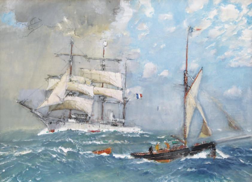 64200€ Marin Marie (1901-1987), Paul Durand de Saint-Front dit Pourquoi-Pas ? et Harcouët, gouache, 63x87cm. Salle V.V., 16juin2011