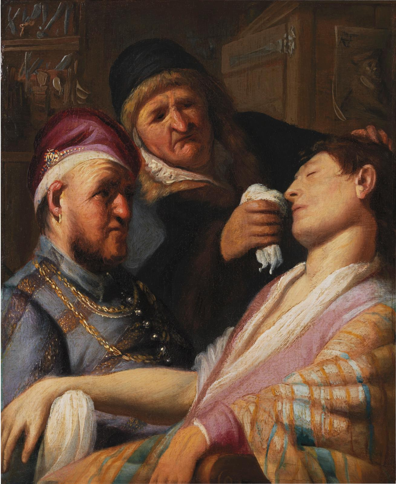 Rembrandt Van Rijn (1606-1669), Unconscious Patient (Allegory of Smell), ca. 1624-1625, oil on panel, 21.6 x 17.8 cm. The Leiden Collectio